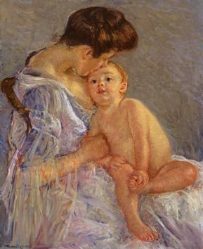 CassattMutterschaft (Mutter ihr Kind küssend) um 1906