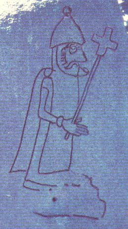 Der Priester ist deutlicher zu sehen in diesem Ausschnitt aus einem Foto Dr. Tempels