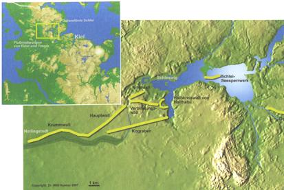 Verlauf des Danewerks (aus: Kennzeichen DK, Danewerk - Unesco Weltkulturerbeprojekt)