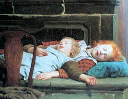Albert anker 1831 1910 zwei schlafende mädchen auf der ofenbank